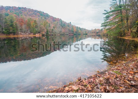 Fall Foliage of the mountain and the reflection lake in Virginia, USA  - stock photo