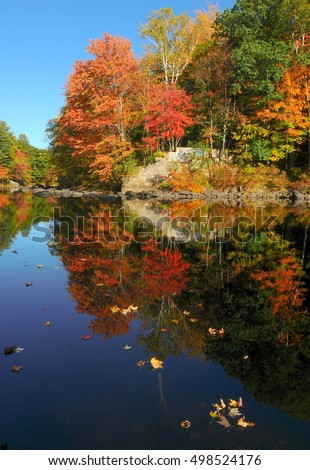 Fall foliage on the Contoocook River in Henniker, New Hampshire.
