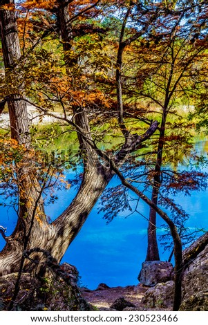 Fall Foliage on the Crystal Clear Frio River at Garner State Park, Texas - stock photo
