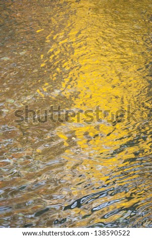 Fall foliage reflected in rippling water, Stowe Vermont, USA - stock photo