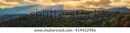 Fall Foliage Sunset Over The Appalachian Mountains On The Blue Ridge Parkway - stock photo