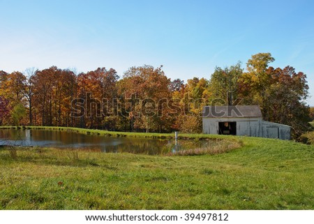 Fall Foliage with Pond and Barn