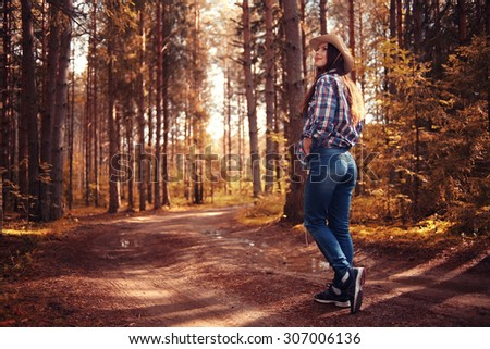 Fall forest landscape girl walk