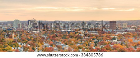 Fall in Downtown New Haven from top of East Rock Park  - stock photo