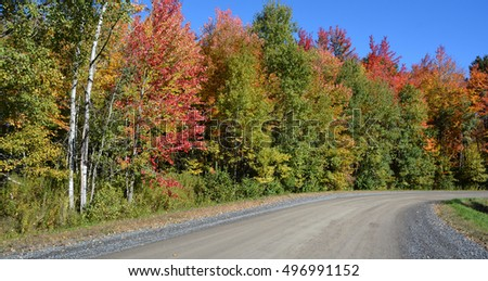 Fall landscape road eastern township Bromont, Quebec, canada