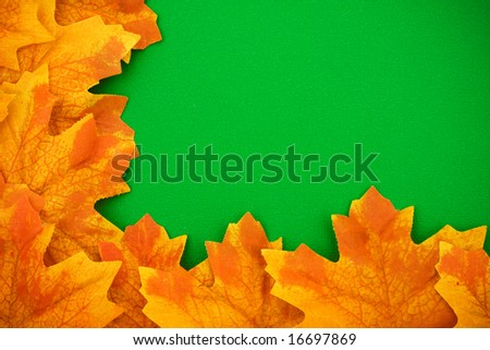 Fall leaves on green background making a border, fall border