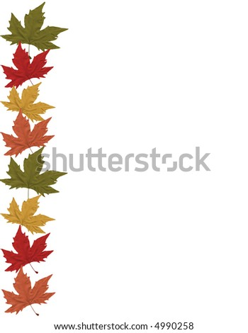 Fall leaves page border - stock photo