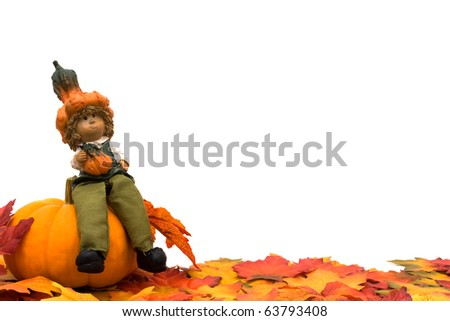Fall leaves with a pumpkin and a scarecrow isolated on a white background, Fall Scene - stock photo
