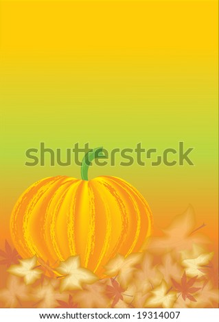 Fall leaves with pumpkin
