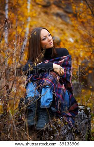 fall portrait of a beautiful woman - stock photo