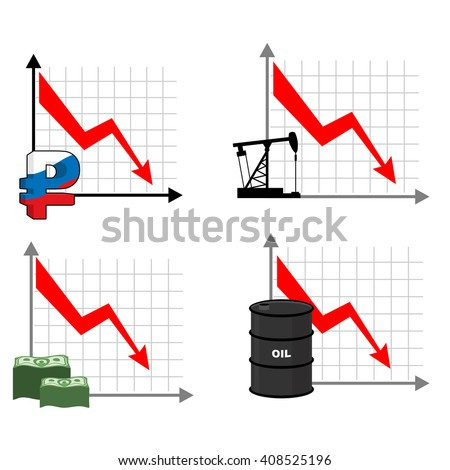 Fall rates of rouble and oil. Red down arrow. Reducing cost of barrels of oil. Reduction quotes Russian currency, money. Decline in  market for cash. Set graph for business infographics. - stock photo