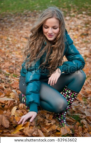 Fall scene - happy woman