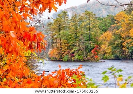 Fall season in the Housatonic River in the Litchfield Hills of Connecticut - stock photo