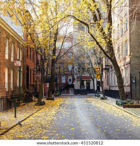Fall street scene in the historic Greenwich Village neighborhood of Manhattan, New York City - stock photo