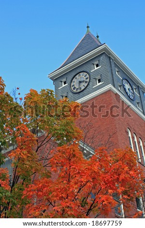 Fall trees at Plymouth State University in New Hampshire - stock photo