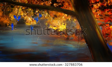 Fall trees with blue birds. Digital painting. - stock photo