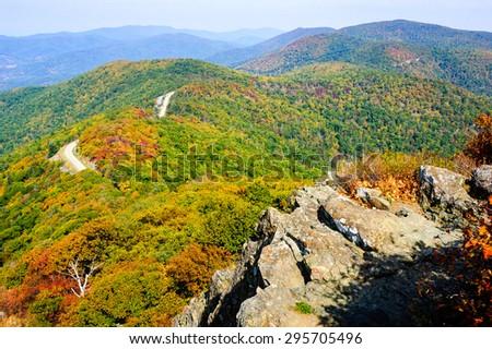 Fall View of Skyline Drive at Shenandoah National Park - stock photo