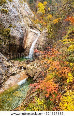 Fall Waterfall at Seoraksan National Park, South korea - stock photo