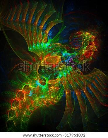 Fallen Angel abstract illustration - stock photo