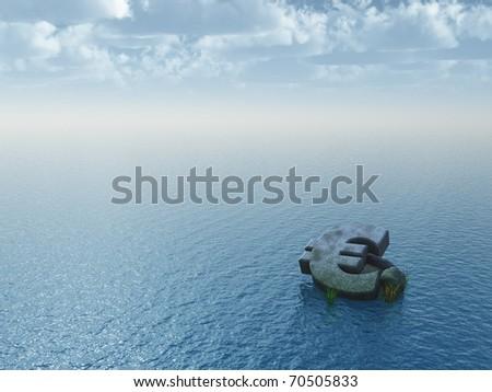fallen euro monument at the ocean - 3d illustration - stock photo