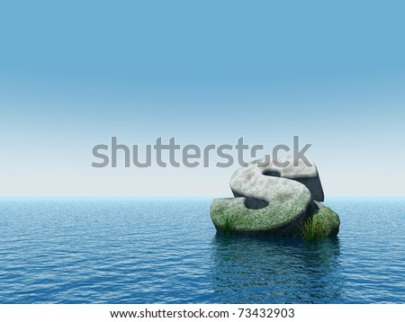 fallen letter s monument at water - 3d illustration