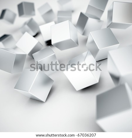 Falling and hitting gray metallic cubes on a white background - stock photo