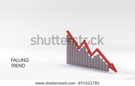 Falling ( bear ) trend made of frosted glass on white background with empty space for text. Can be used as clipart or illustration for traders materials, In business news, magazines and etc. 3D render