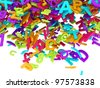 Falling Block Letters colorful - stock photo