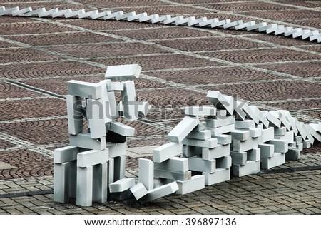 Falling bricks - stock photo