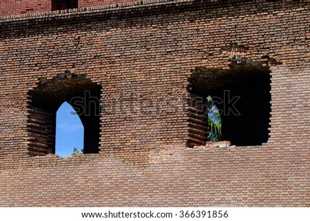 Falling bricks along the wall of Fort Jefferson Union prison and fort in the dry tortugas