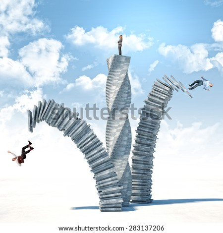 falling businessman and winner woman on abstract 3d tower - stock photo
