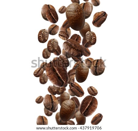 Falling coffee beans isolated on white - stock photo