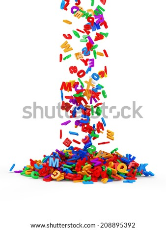 Falling Colorful Letters isolated on white background. Education Concept - stock photo