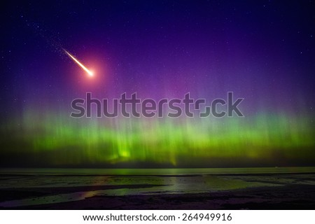 Falling comet and Aurora Borealis - stock photo