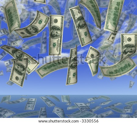 Falling 100 dollar banknotes on a background of the sky in ocean - stock photo