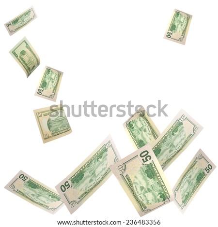 falling dollars - stock photo
