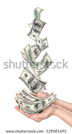 Falling dollars isolated on a white background - stock photo