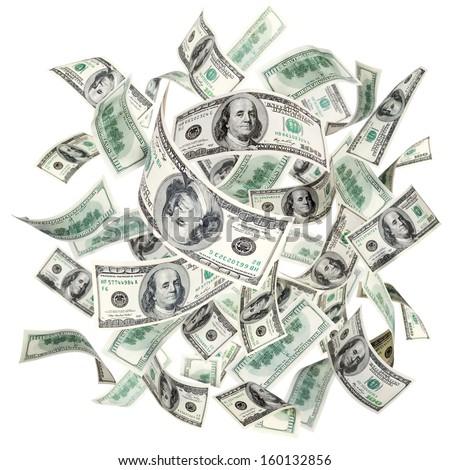 Falling dollars isolated on white background  - stock photo