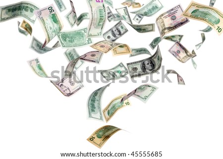 Falling dollars on a white background - stock photo