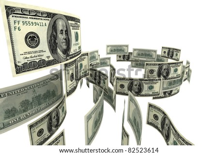 Falling dollars on a white background