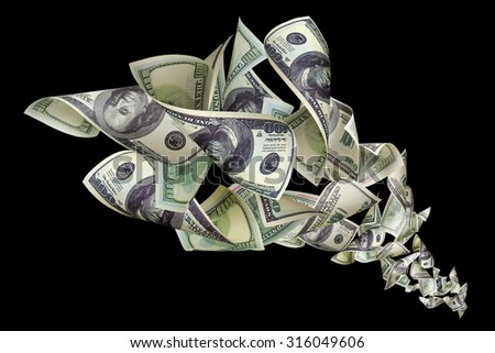 Falling dollars on black background - stock photo
