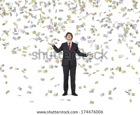 Falling down euros and businessman 2 - stock photo