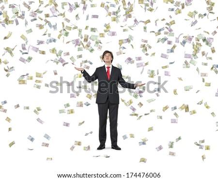 Falling down euros and businessman 2 - stock photo