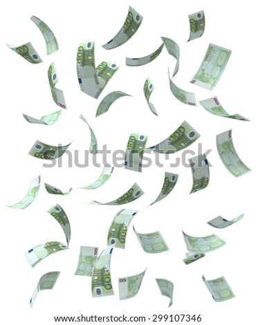 Falling Euro bills. Isolated on white.