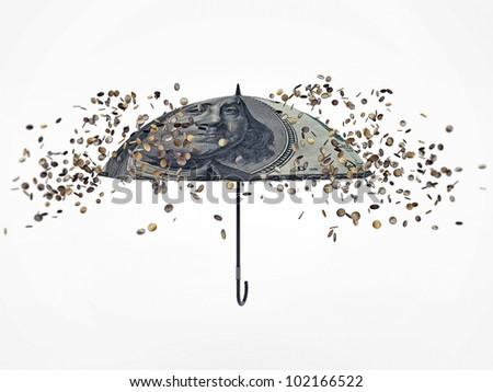 falling euro on open umbrella - stock photo