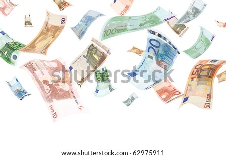 Falling euros on white background (copyspace below) - stock photo