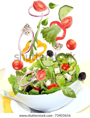 Falling fresh vegetable - stock photo