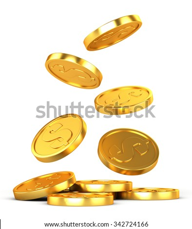 Falling gold coins on a white background - stock photo