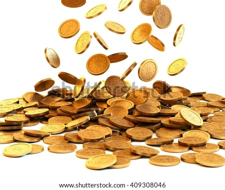 Falling gold coins on white background. 3D rendering.