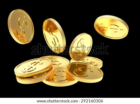 Falling golden coins close-up isolated on a black background - stock photo
